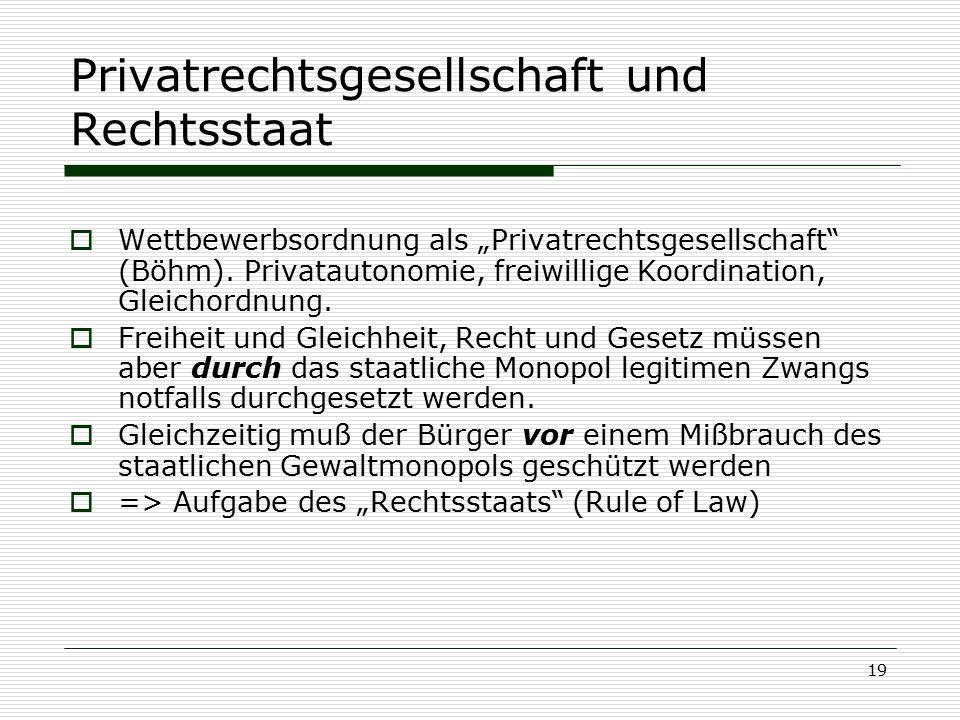 """19 Privatrechtsgesellschaft und Rechtsstaat  Wettbewerbsordnung als """"Privatrechtsgesellschaft"""" (Böhm). Privatautonomie, freiwillige Koordination, Gle"""