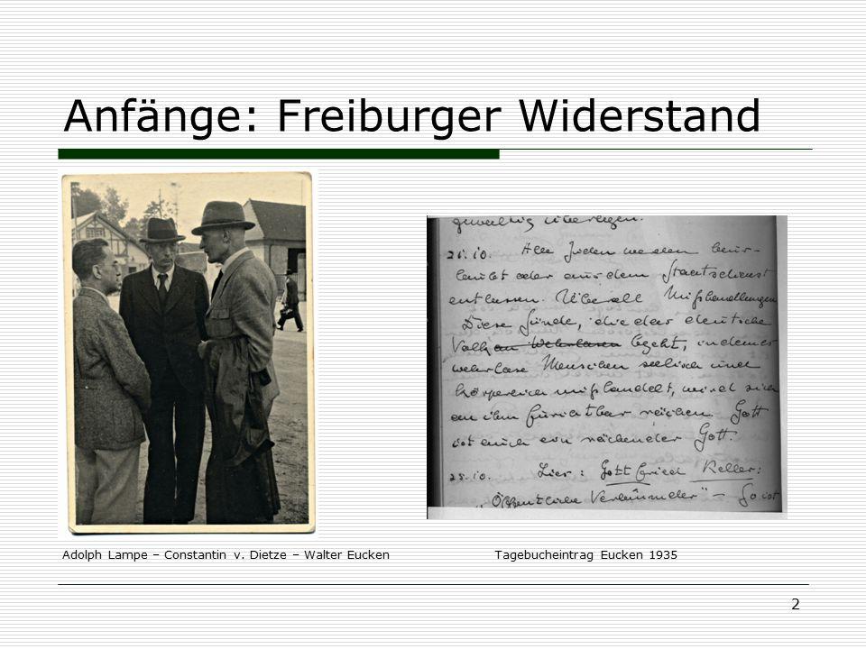 3 Freiburger Widerstandskreise Walter Bauer (Unternehmer) Erik Wolf (Jurist) Otto Dibelius (ev.