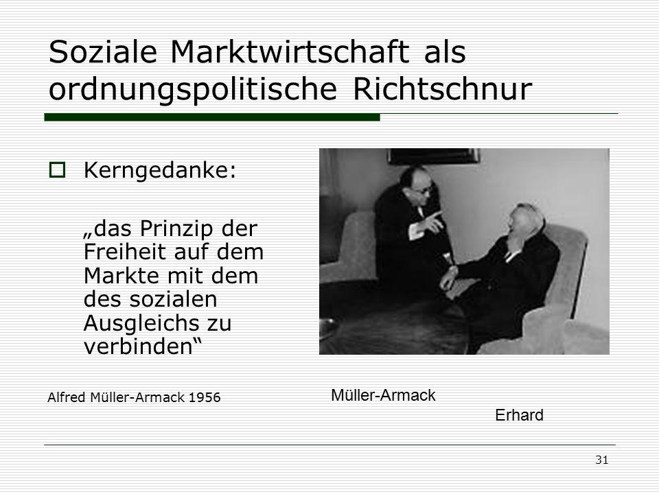 """31 Soziale Marktwirtschaft als ordnungspolitische Richtschnur  Kerngedanke: """"das Prinzip der Freiheit auf dem Markte mit dem des sozialen Ausgleichs"""