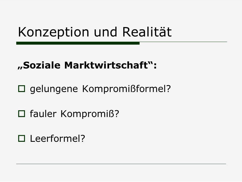 """Konzeption und Realität """"Soziale Marktwirtschaft"""":  gelungene Kompromißformel?  fauler Kompromiß?  Leerformel?"""