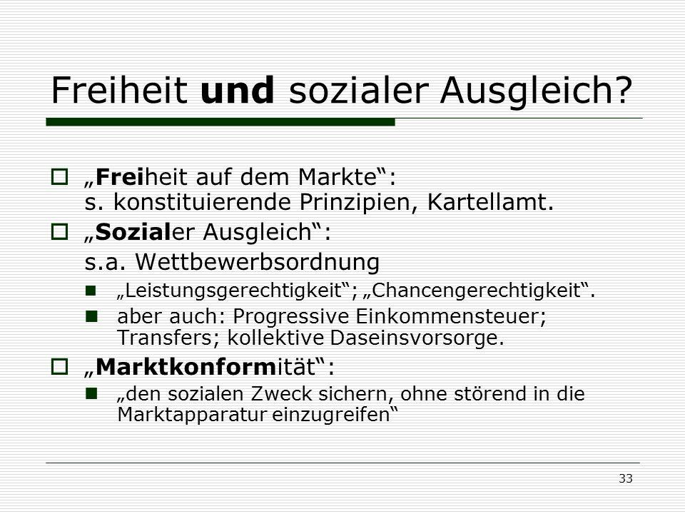 """33 Freiheit und sozialer Ausgleich?  """"Freiheit auf dem Markte"""": s. konstituierende Prinzipien, Kartellamt.  """"Sozialer Ausgleich"""": s.a. Wettbewerbsor"""