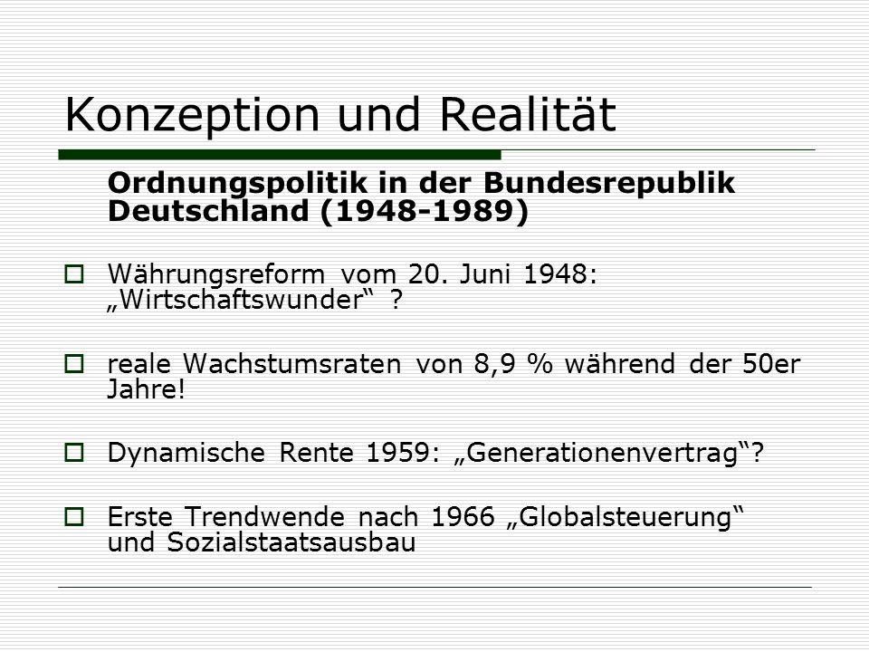 """Konzeption und Realität Ordnungspolitik in der Bundesrepublik Deutschland (1948-1989)  Währungsreform vom 20. Juni 1948: """"Wirtschaftswunder"""" ?  real"""
