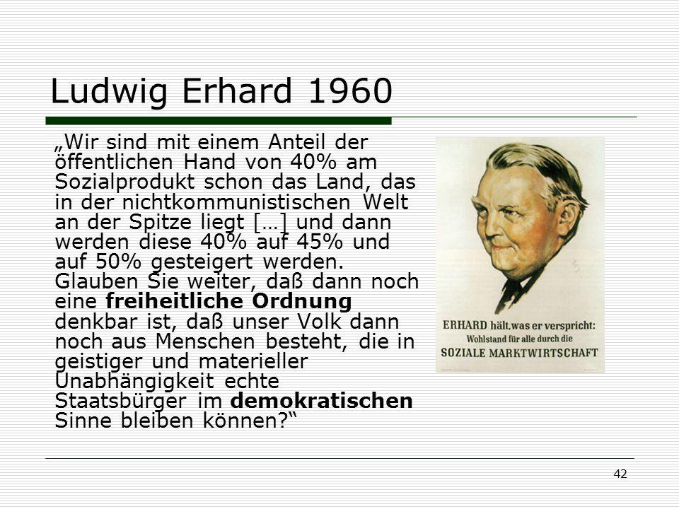 """42 Ludwig Erhard 1960 """"Wir sind mit einem Anteil der öffentlichen Hand von 40% am Sozialprodukt schon das Land, das in der nichtkommunistischen Welt a"""