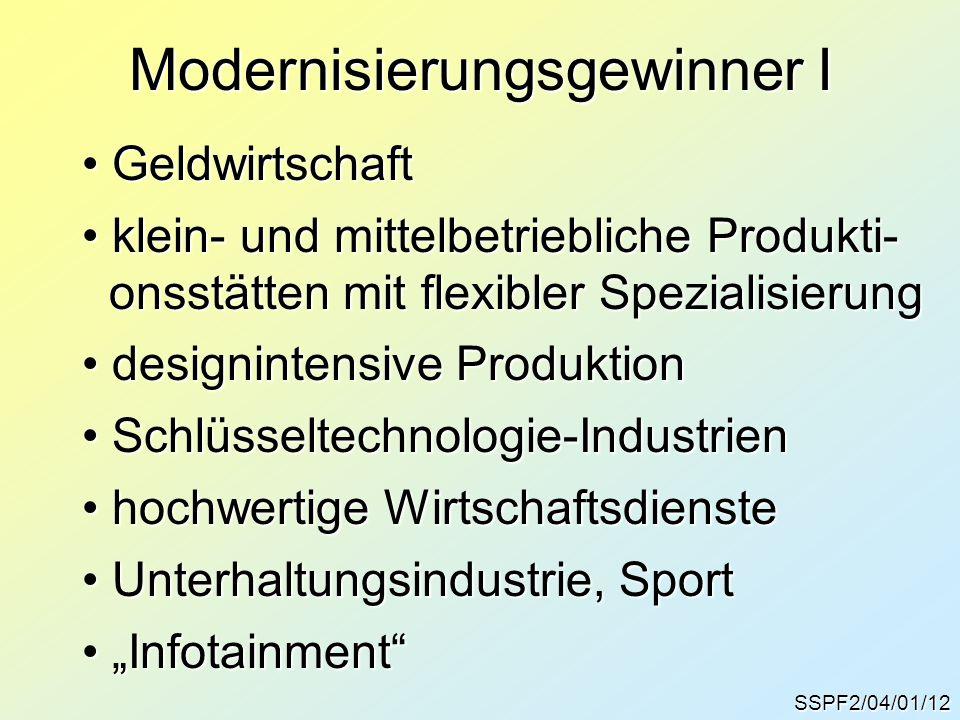 SSPF2/04/01/12 Modernisierungsgewinner I Geldwirtschaft Geldwirtschaft klein- und mittelbetriebliche Produkti- klein- und mittelbetriebliche Produkti-