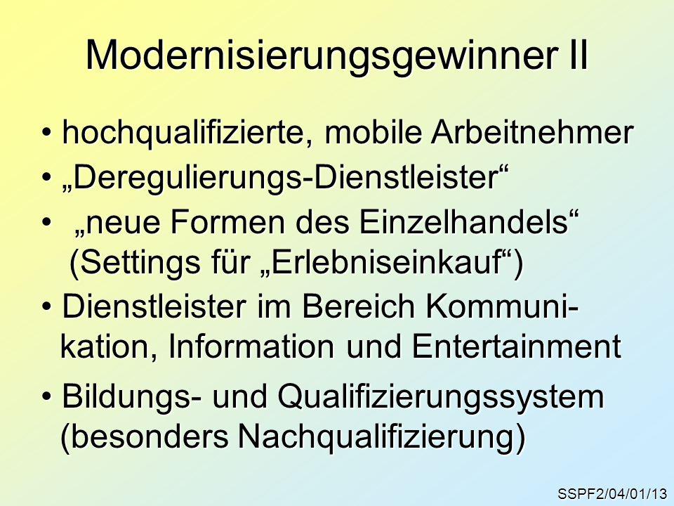"""SSPF2/04/01/13 Modernisierungsgewinner II """"Deregulierungs-Dienstleister"""" """"Deregulierungs-Dienstleister"""" """"neue Formen des Einzelhandels""""""""neue Formen de"""