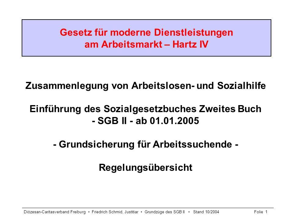 Diözesan-Caritasverband Freiburg Friedrich Schmid, Justitiar Grundzüge des SGB II Stand 10/2004Folie 2 Aufgabe und Ziel der Grundsicherung für Arbeitssuchende § 1 Abs.