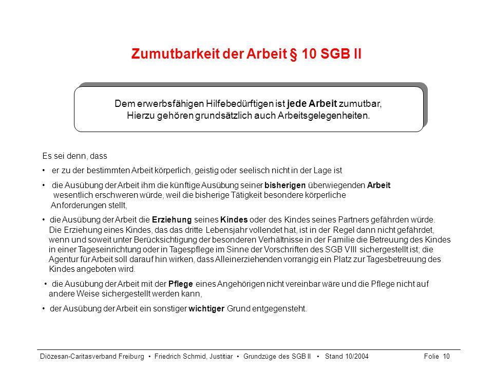 Diözesan-Caritasverband Freiburg Friedrich Schmid, Justitiar Grundzüge des SGB II Stand 10/2004Folie 10 Zumutbarkeit der Arbeit § 10 SGB II Es sei den