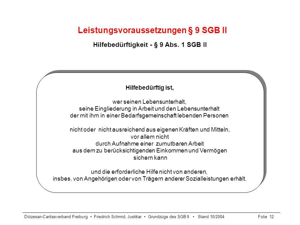 Diözesan-Caritasverband Freiburg Friedrich Schmid, Justitiar Grundzüge des SGB II Stand 10/2004Folie 12 Leistungsvoraussetzungen § 9 SGB II Hilfebedür