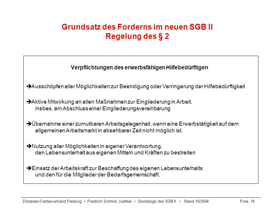 Diözesan-Caritasverband Freiburg Friedrich Schmid, Justitiar Grundzüge des SGB II Stand 10/2004Folie 17 Grundsatz des Förderns § 14 SGB II Leistungsarten - Regelung des § 4 SGB II Erbringung der Leistungen der Grundsicherung für Arbeitssuchende in Form von Dienstleistungen Insbes.