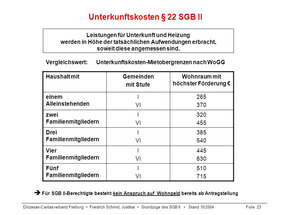 Diözesan-Caritasverband Freiburg Friedrich Schmid, Justitiar Grundzüge des SGB II Stand 10/2004Folie 24 Weitere Geldleistungen nach SGB II Leistungen für einmalige Bedarfe – außerhalb der Regelleistung § 23 Abs.