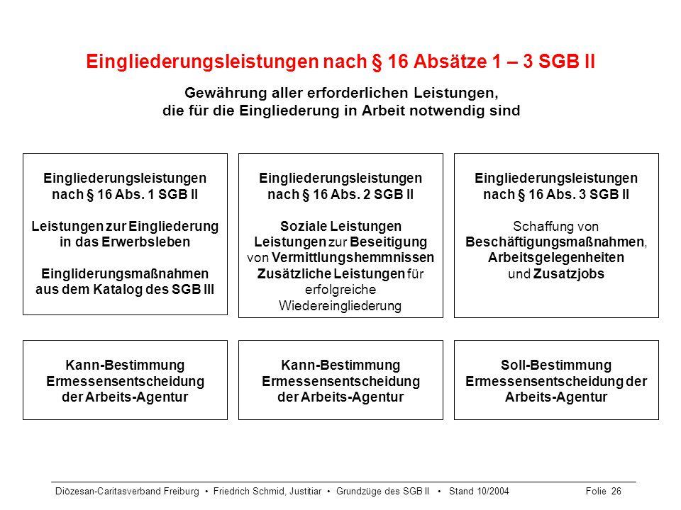 Diözesan-Caritasverband Freiburg Friedrich Schmid, Justitiar Grundzüge des SGB II Stand 10/2004Folie 26 Eingliederungsleistungen nach § 16 Absätze 1 –