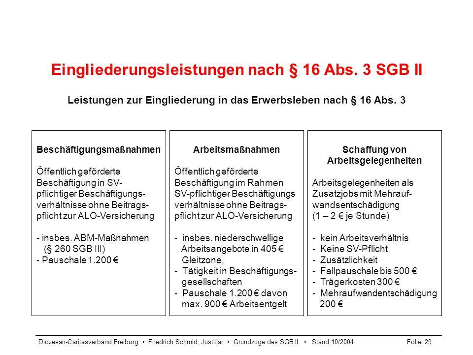 Diözesan-Caritasverband Freiburg Friedrich Schmid, Justitiar Grundzüge des SGB II Stand 10/2004Folie 29 Eingliederungsleistungen nach § 16 Abs. 3 SGB