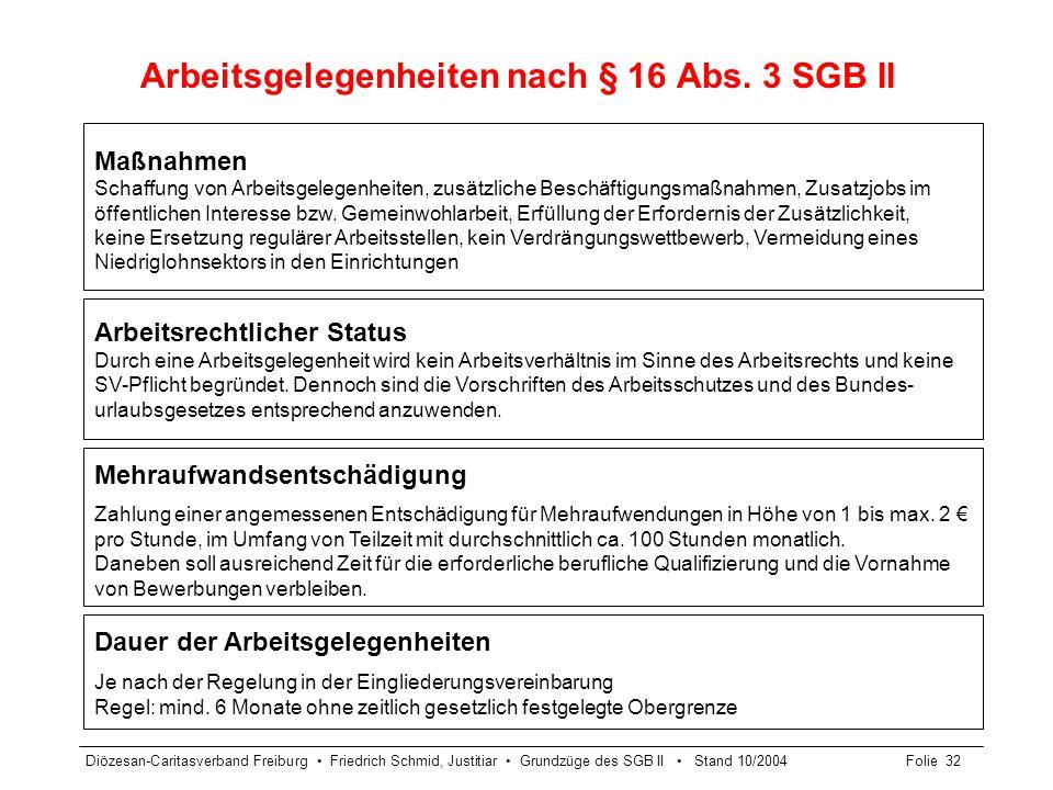 Diözesan-Caritasverband Freiburg Friedrich Schmid, Justitiar Grundzüge des SGB II Stand 10/2004Folie 33 Rechtsverhältnisse bei Arbeitsgelegenheiten § 16 Abs.