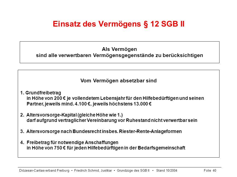 Diözesan-Caritasverband Freiburg Friedrich Schmid, Justitiar Grundzüge des SGB II Stand 10/2004Folie 40 Einsatz des Vermögens § 12 SGB II Als Vermögen