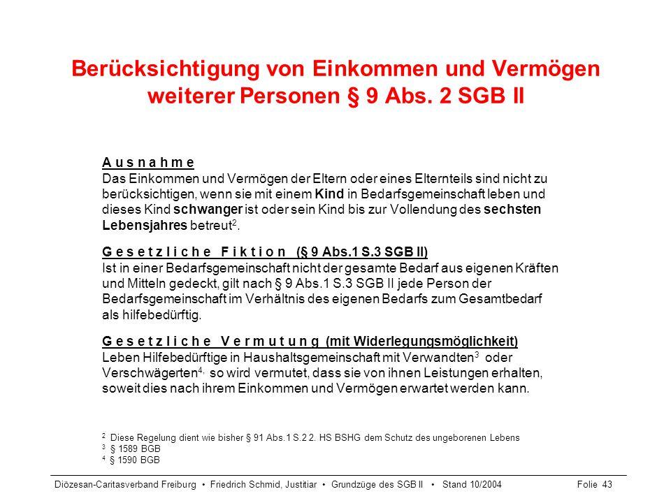Diözesan-Caritasverband Freiburg Friedrich Schmid, Justitiar Grundzüge des SGB II Stand 10/2004Folie 43 Berücksichtigung von Einkommen und Vermögen we