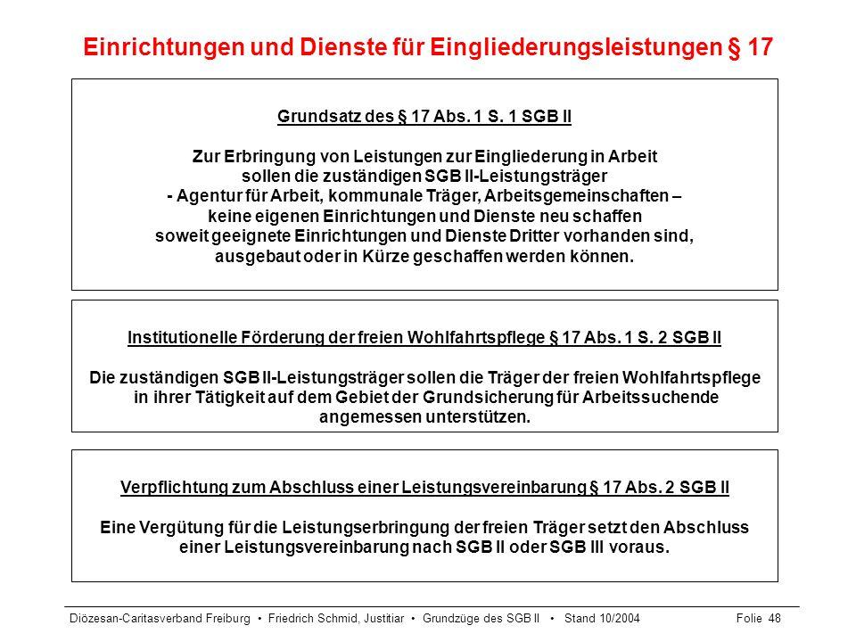 Diözesan-Caritasverband Freiburg Friedrich Schmid, Justitiar Grundzüge des SGB II Stand 10/2004Folie 48 Einrichtungen und Dienste für Eingliederungsle