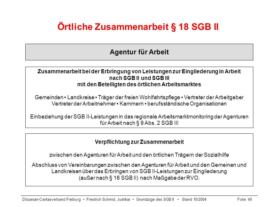 Diözesan-Caritasverband Freiburg Friedrich Schmid, Justitiar Grundzüge des SGB II Stand 10/2004Folie 49 Örtliche Zusammenarbeit § 18 SGB II Agentur fü