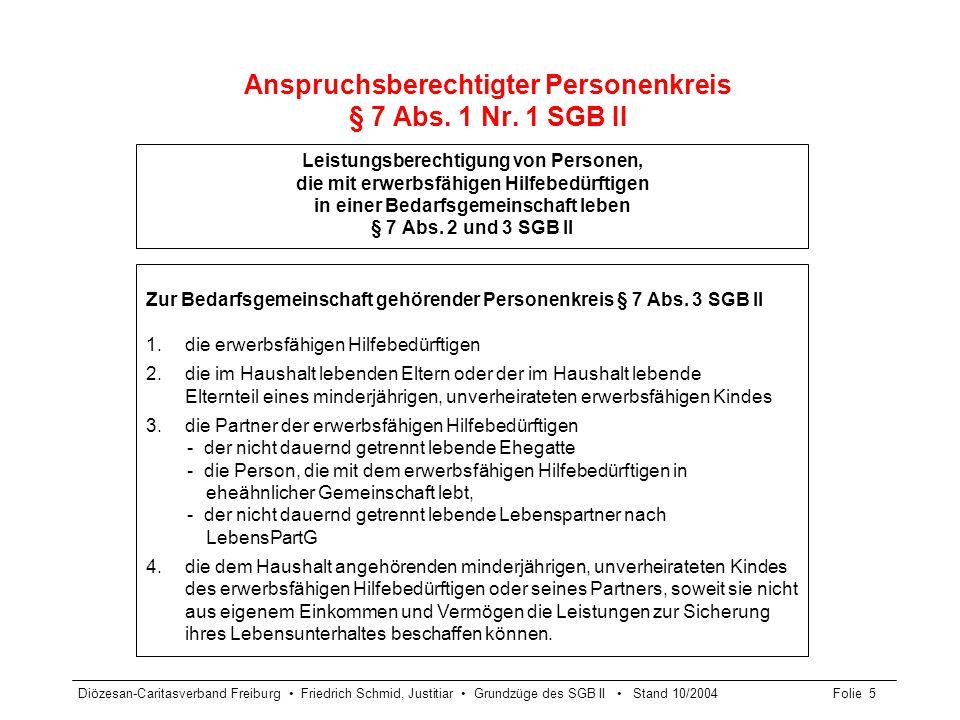 Diözesan-Caritasverband Freiburg Friedrich Schmid, Justitiar Grundzüge des SGB II Stand 10/2004Folie 6 Erwerbsfähigkeit § 8 SGB II Erwerbsfähig ist, wer nicht wegen Krankheit oder Behinderung auf absehbare Zeit außerstande ist, unter den üblichen Bedingungen des allgemeinen Arbeitsmarktes mindestens 3 Stunden täglich erwerbstätig zu sein.