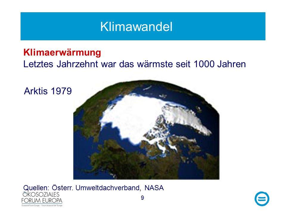 9 Klimawandel Klimaerwärmung Letztes Jahrzehnt war das wärmste seit 1000 Jahren Arktis 1979 Quellen: Österr.