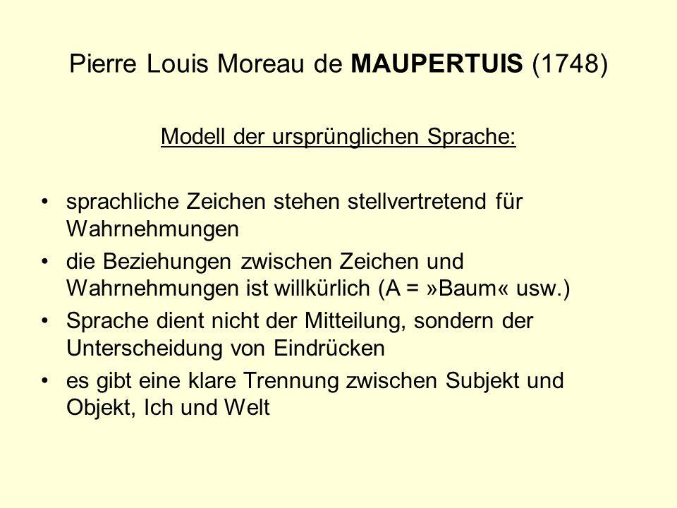 Pierre Louis Moreau de MAUPERTUIS (1748) Modell der ursprünglichen Sprache: sprachliche Zeichen stehen stellvertretend für Wahrnehmungen die Beziehung