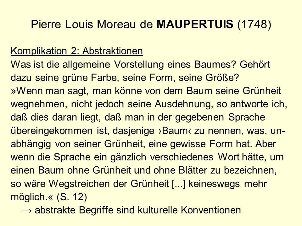 Pierre Louis Moreau de MAUPERTUIS (1748) Komplikation 2: Abstraktionen Was ist die allgemeine Vorstellung eines Baumes? Gehört dazu seine grüne Farbe,