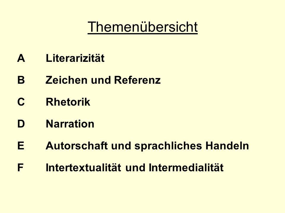 Themenübersicht ALiterarizität BZeichen und Referenz CRhetorik DNarration EAutorschaft und sprachliches Handeln FIntertextualität und Intermedialität