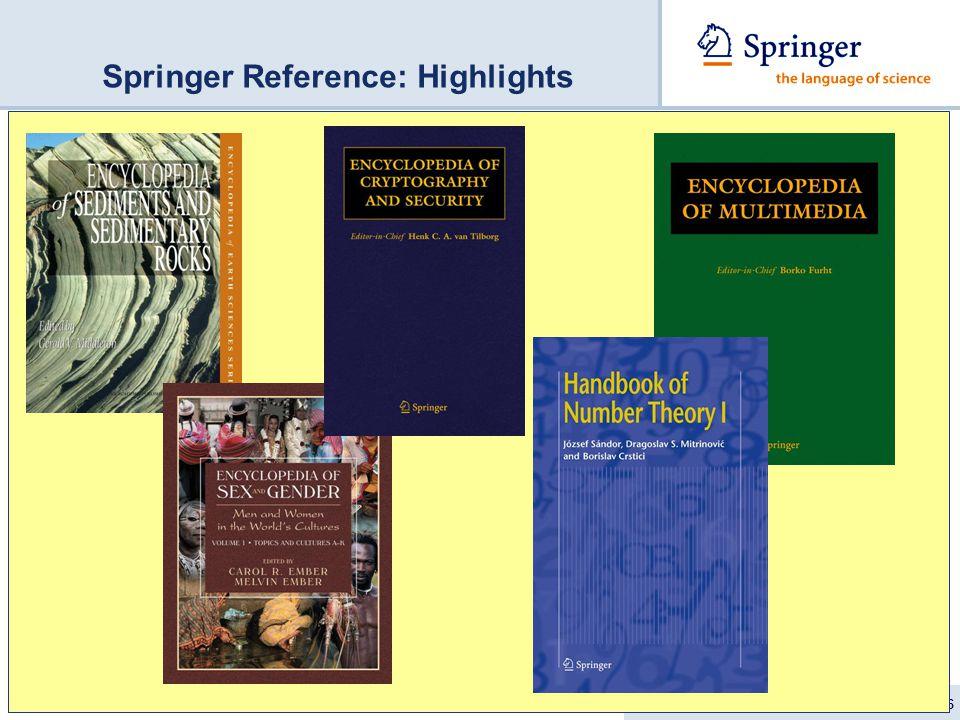 GBV Verbundtagung Bremen 11.9.2007/ Iris Nord 16 Springer Reference: Highlights
