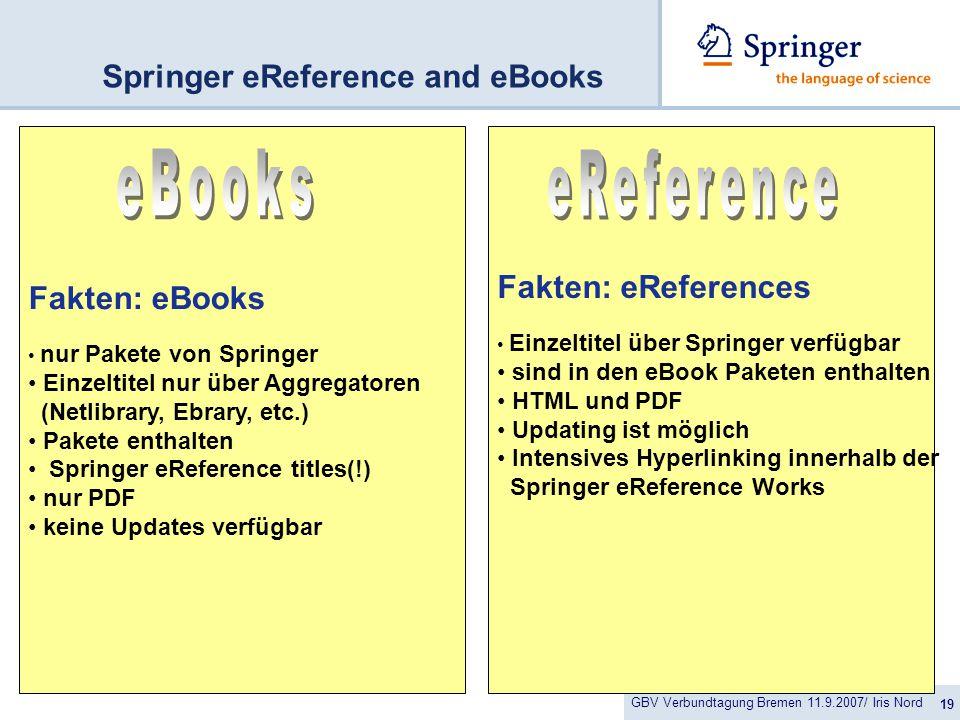 GBV Verbundtagung Bremen 11.9.2007/ Iris Nord 19 Springer eReference and eBooks Fakten: eBooks nur Pakete von Springer Einzeltitel nur über Aggregatoren (Netlibrary, Ebrary, etc.) Pakete enthalten Springer eReference titles(!) nur PDF keine Updates verfügbar Fakten: eReferences Einzeltitel über Springer verfügbar sind in den eBook Paketen enthalten HTML und PDF Updating ist möglich Intensives Hyperlinking innerhalb der Springer eReference Works