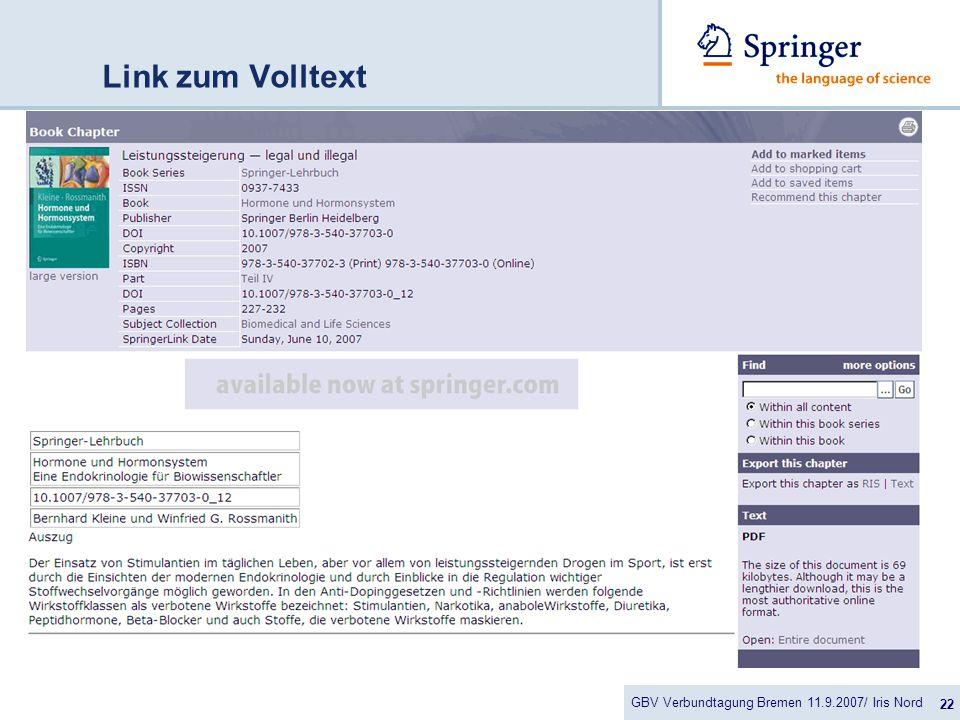 GBV Verbundtagung Bremen 11.9.2007/ Iris Nord 22 Link zum Volltext