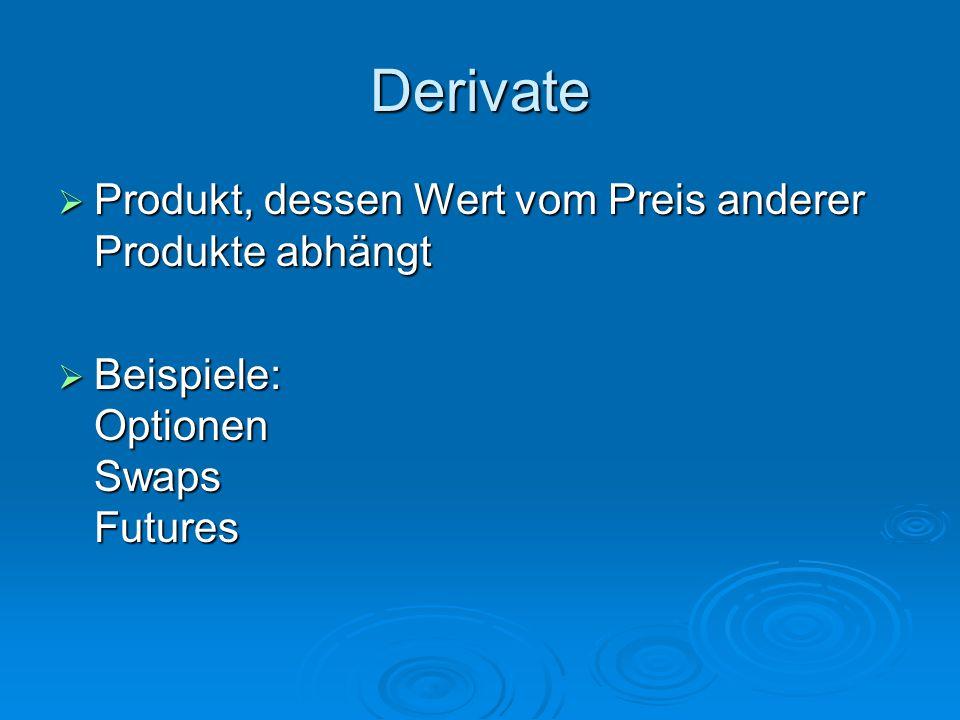 Derivate  Produkt, dessen Wert vom Preis anderer Produkte abhängt  Beispiele: Optionen Swaps Futures