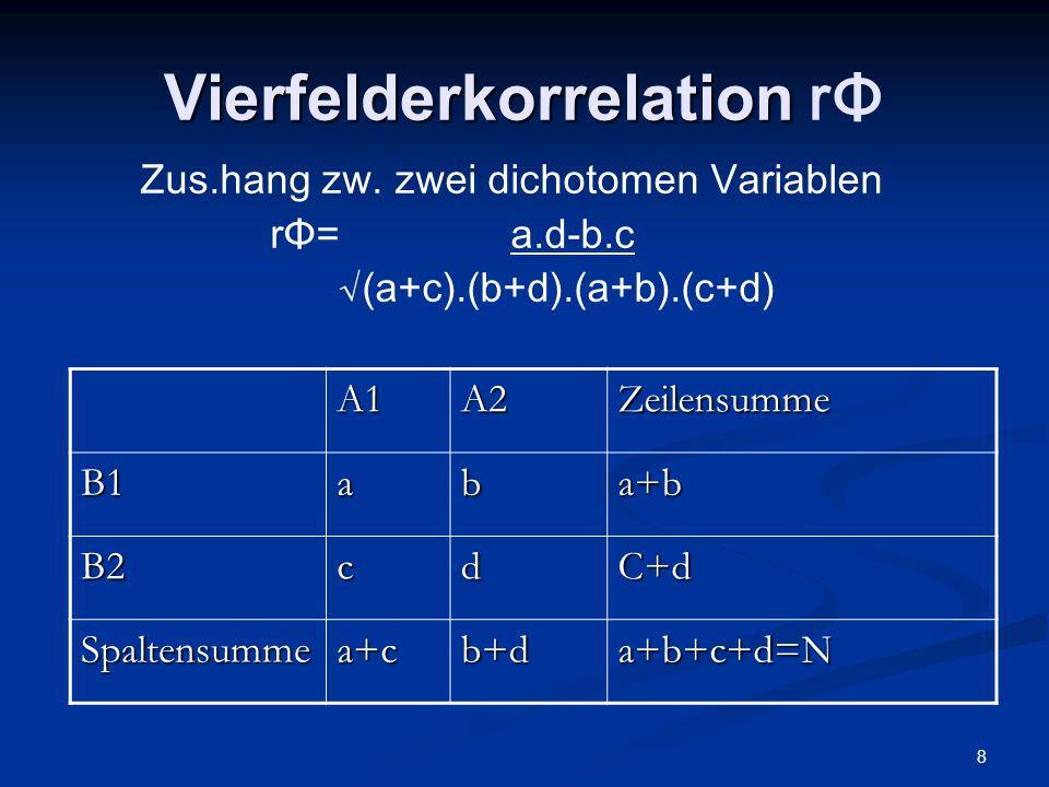 8 Vierfelderkorrelation Vierfelderkorrelation rΦ Zus.hang zw. zwei dichotomen Variablen rΦ= a.d-b.c √(a+c).(b+d).(a+b).(c+d) A1A2Zeilensumme B1aba+b B