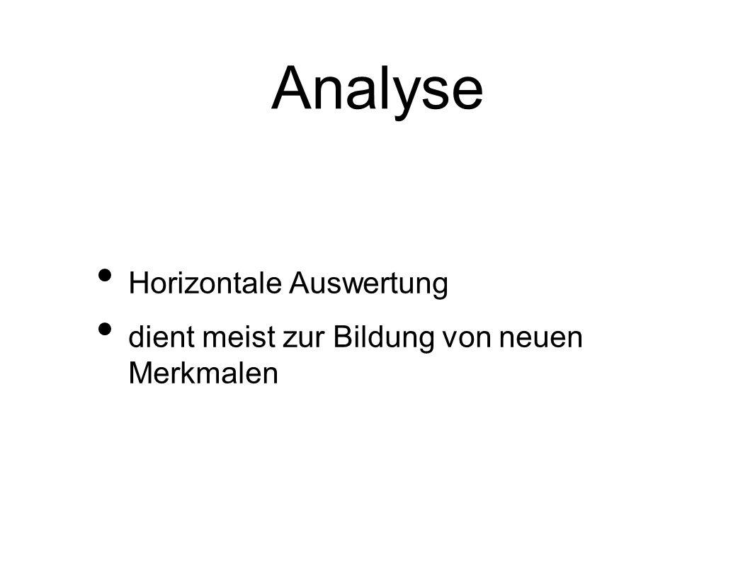 Analyse Horizontale Auswertung dient meist zur Bildung von neuen Merkmalen