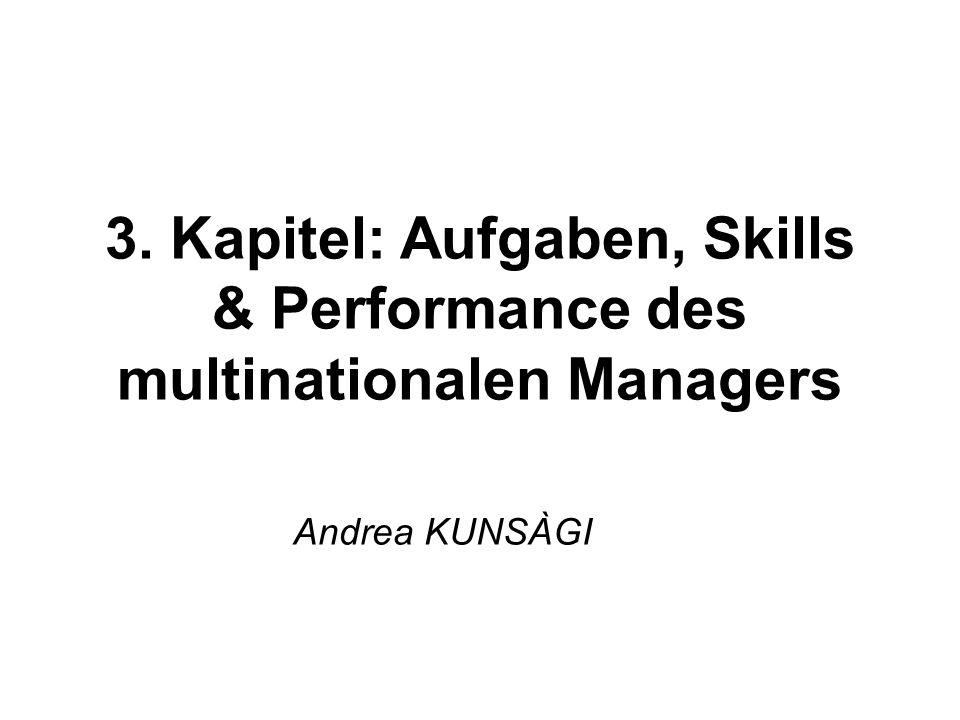 Andrea KUNSÀGI 3. Kapitel: Aufgaben, Skills & Performance des multinationalen Managers