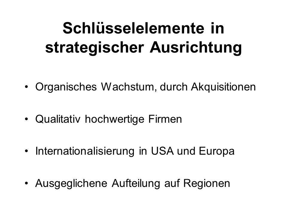 Schlüsselelemente in strategischer Ausrichtung Organisches Wachstum, durch Akquisitionen Qualitativ hochwertige Firmen Internationalisierung in USA un