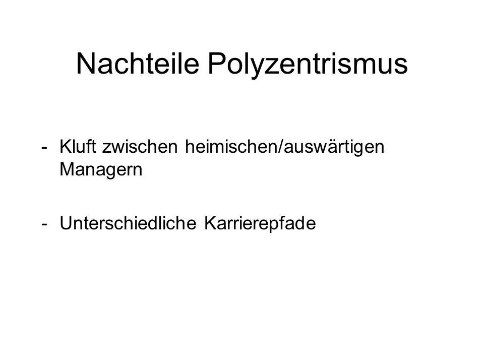 Nachteile Polyzentrismus -Kluft zwischen heimischen/auswärtigen Managern -Unterschiedliche Karrierepfade