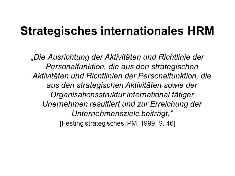 """Strategisches internationales HRM """"Die Ausrichtung der Aktivitäten und Richtlinie der Personalfunktion, die aus den strategischen Aktivitäten und Rich"""