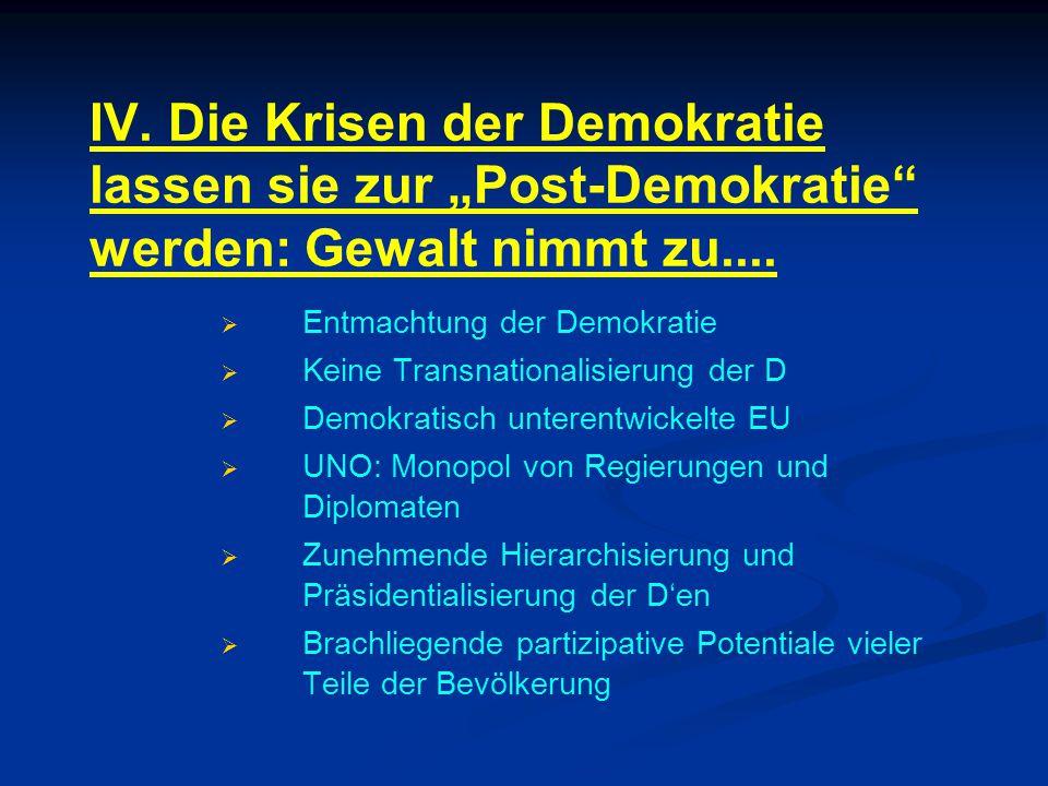 """IV. Die Krisen der Demokratie lassen sie zur """"Post-Demokratie"""" werden: Gewalt nimmt zu....   Entmachtung der Demokratie   Keine Transnationalisier"""