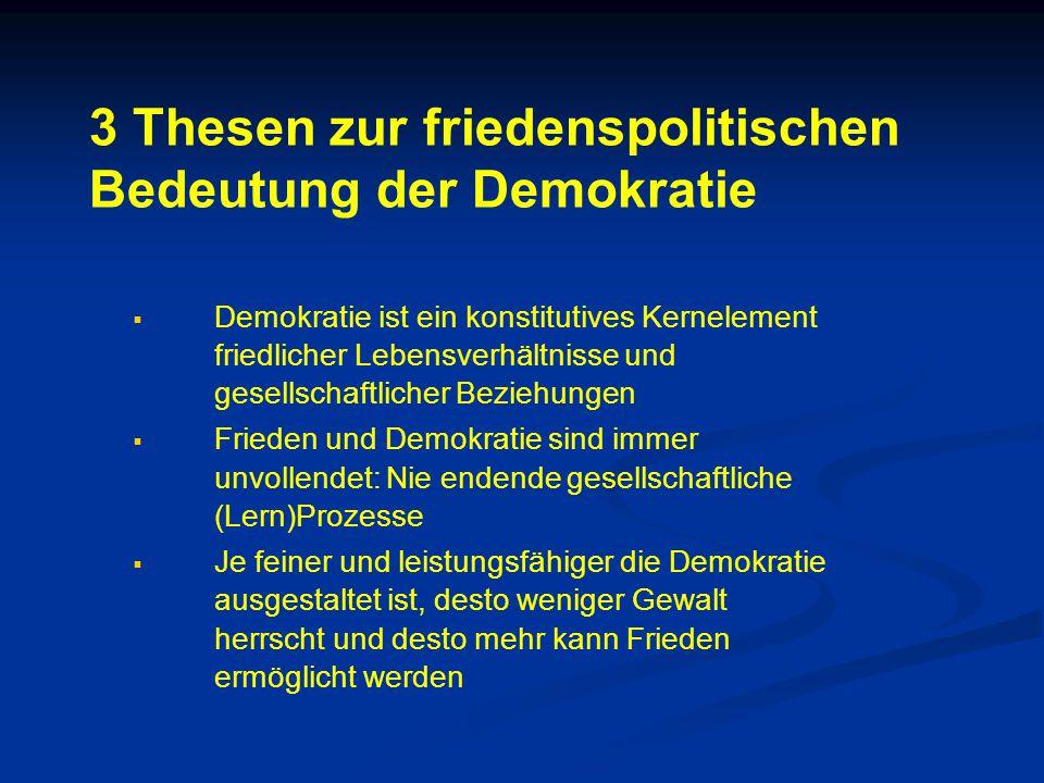 3 Thesen zur friedenspolitischen Bedeutung der Demokratie   Demokratie ist ein konstitutives Kernelement friedlicher Lebensverhältnisse und gesellsc