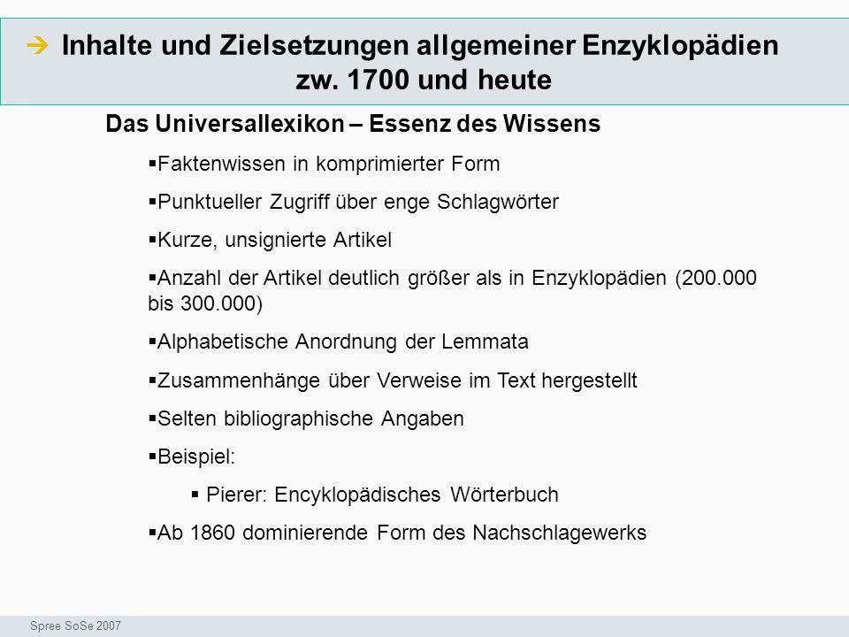 Inhalte und Zielsetzungen allgemeiner Enzyklopädien zw. 1700 und heute  Seminar I-Prax: Inhaltserschließung visueller Medien, 5.10.2004 Spree SoSe 20