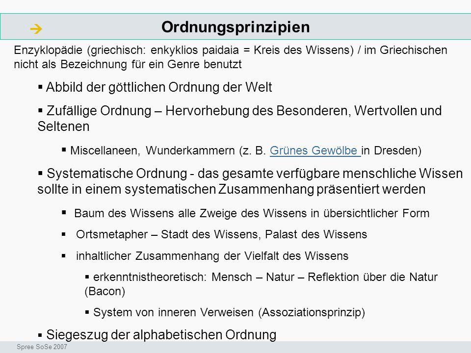 Ordnungsprinzipien  ArbeitsschritteW Seminar I-Prax: Inhaltserschließung visueller Medien, 5.10.2004 Spree SoSe 2007 Enzyklopädie (griechisch: enkykl