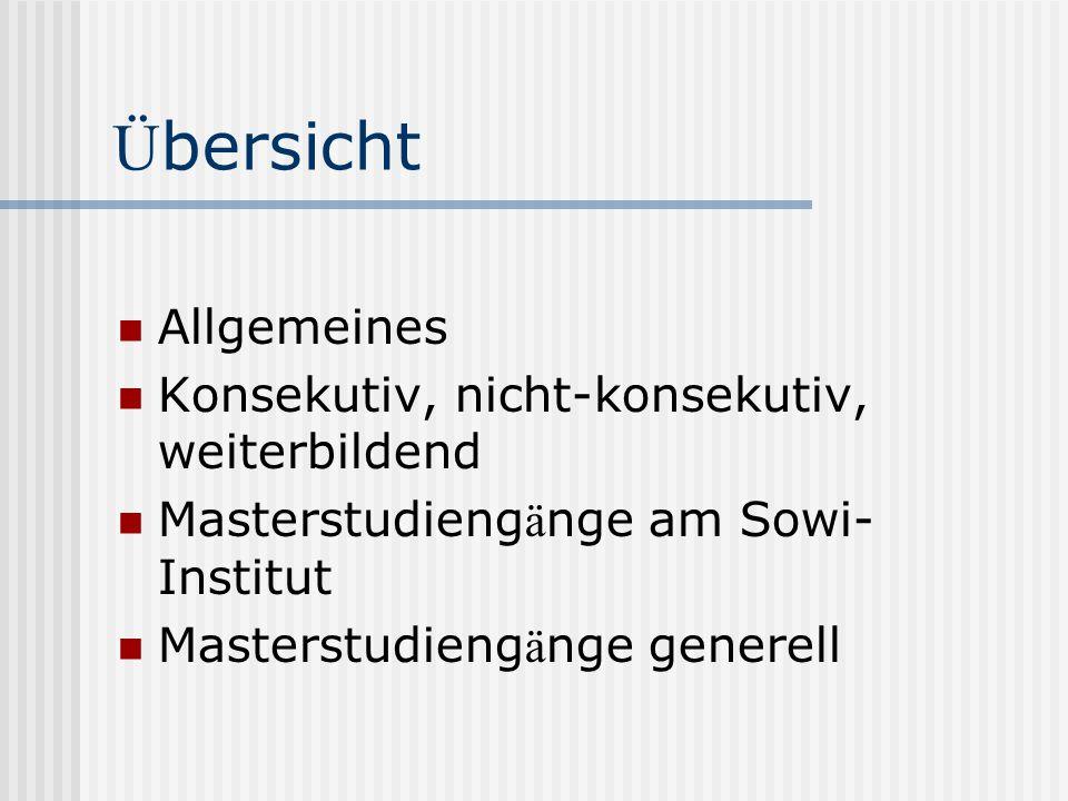 Allgemeines 1-2j ä hrig Vollzeit oder berufsbegleitend Vertiefung oder Erschlie ß en neuer Wissensgebiete Sowi: Master of Arts Voraussetzung zur Promotion