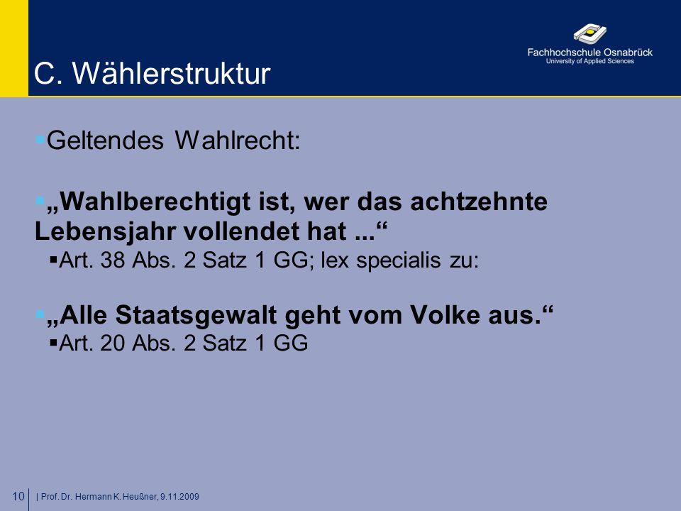 """  Prof. Dr. Hermann K. Heußner, 9.11.2009 10 C. Wählerstruktur  Geltendes Wahlrecht:  """"Wahlberechtigt ist, wer das achtzehnte Lebensjahr vollendet h"""