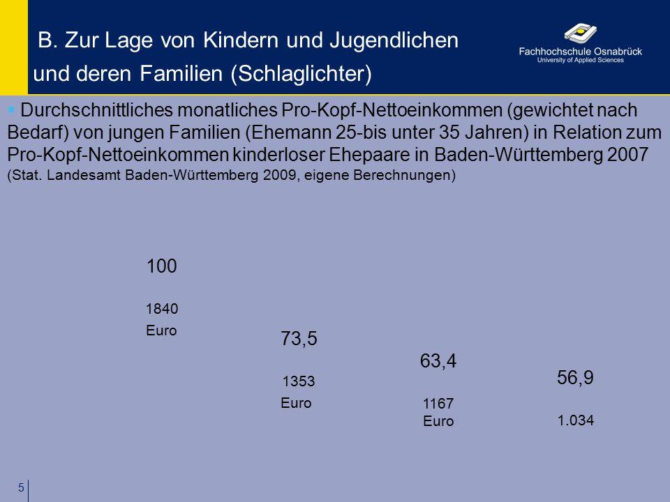 5 B. Zur Lage von Kindern und Jugendlichen und deren Familien (Schlaglichter) 73,5 1353 Euro 100 1840 Euro 63,4 1167 Euro 56,9 1.034  Durchschnittlic