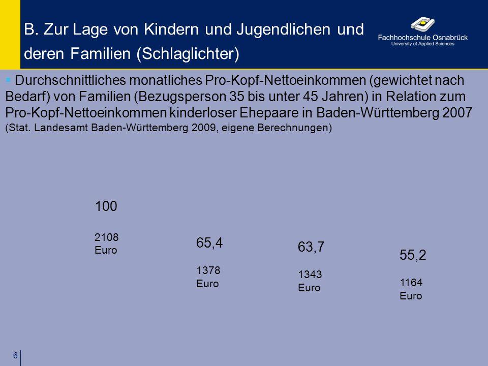 6 B. Zur Lage von Kindern und Jugendlichen und deren Familien (Schlaglichter)  Durchschnittliches monatliches Pro-Kopf-Nettoeinkommen (gewichtet nach