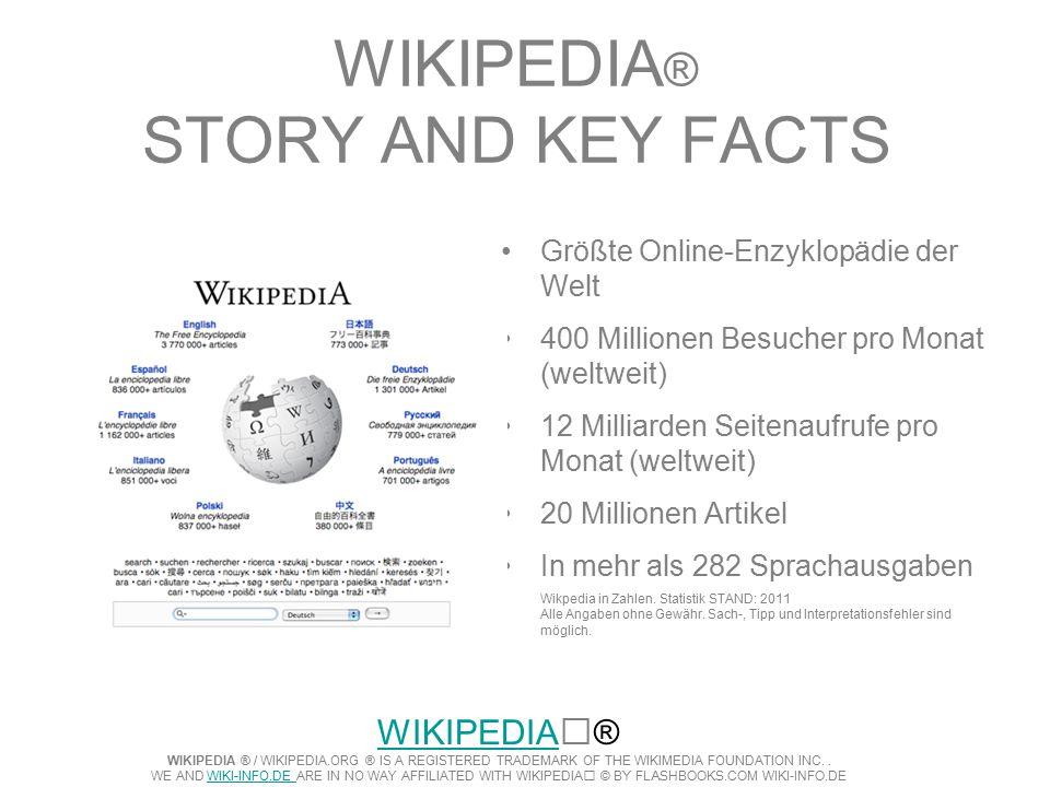 WIKIPEDIA ® STORY AND KEY FACTS Größte Online-Enzyklopädie der Welt 400 Millionen Besucher pro Monat (weltweit) 12 Milliarden Seitenaufrufe pro Monat (weltweit) 20 Millionen Artikel In mehr als 282 Sprachausgaben Wikpedia in Zahlen.