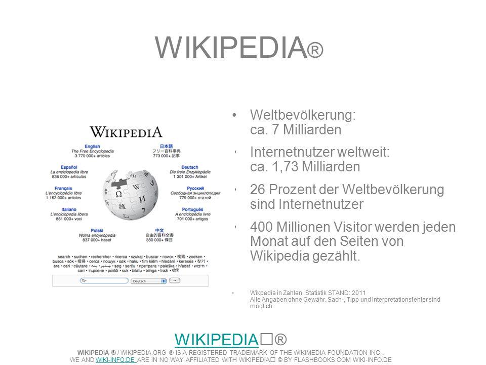 WIKIPEDIA ® Weltbevölkerung: ca. 7 Milliarden Internetnutzer weltweit: ca.