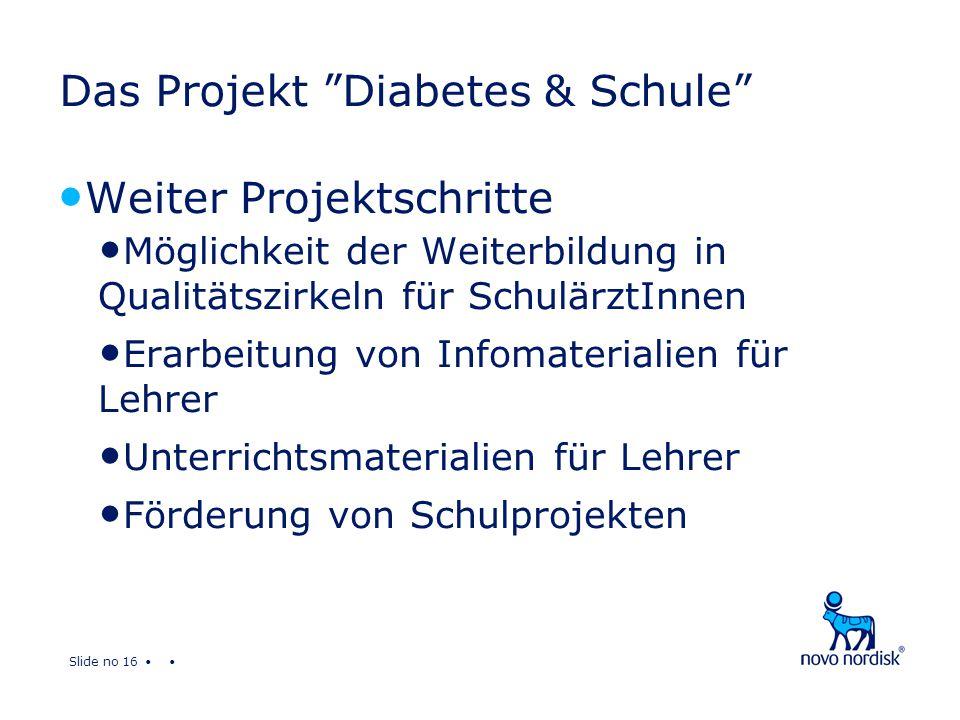 Slide no 16 Das Projekt Diabetes & Schule Weiter Projektschritte Möglichkeit der Weiterbildung in Qualitätszirkeln für SchulärztInnen Erarbeitung von Infomaterialien für Lehrer Unterrichtsmaterialien für Lehrer Förderung von Schulprojekten