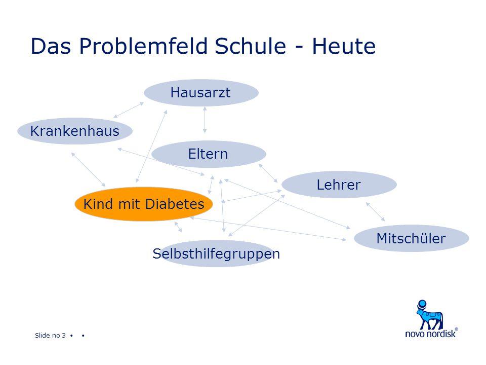 Slide no 3 Das Problemfeld Schule - Heute Krankenhaus Eltern Lehrer Mitschüler Hausarzt Selbsthilfegruppen Kind mit Diabetes