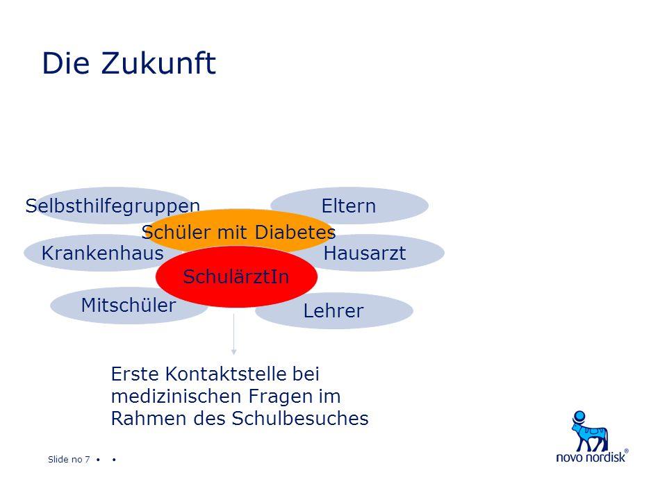 Slide no 7 Die Zukunft Krankenhaus Eltern Lehrer Mitschüler Hausarzt Selbsthilfegruppen Schüler mit Diabetes SchulärztIn Erste Kontaktstelle bei medizinischen Fragen im Rahmen des Schulbesuches