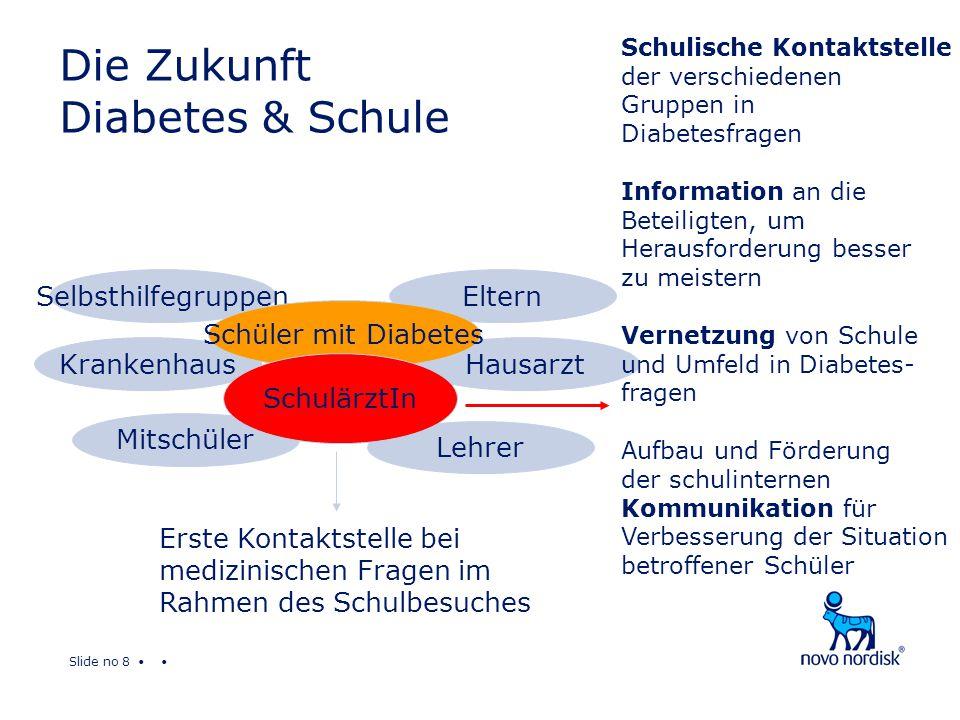 Slide no 9 Das Ziel Erfüllen wir den Wunsch eines an Diabetes erkrankten Kindes*: Am besten wäre es, wenn alle meine Lehrer und auch meine Mitschüler das wichtigste über Diabetes wissen würden.